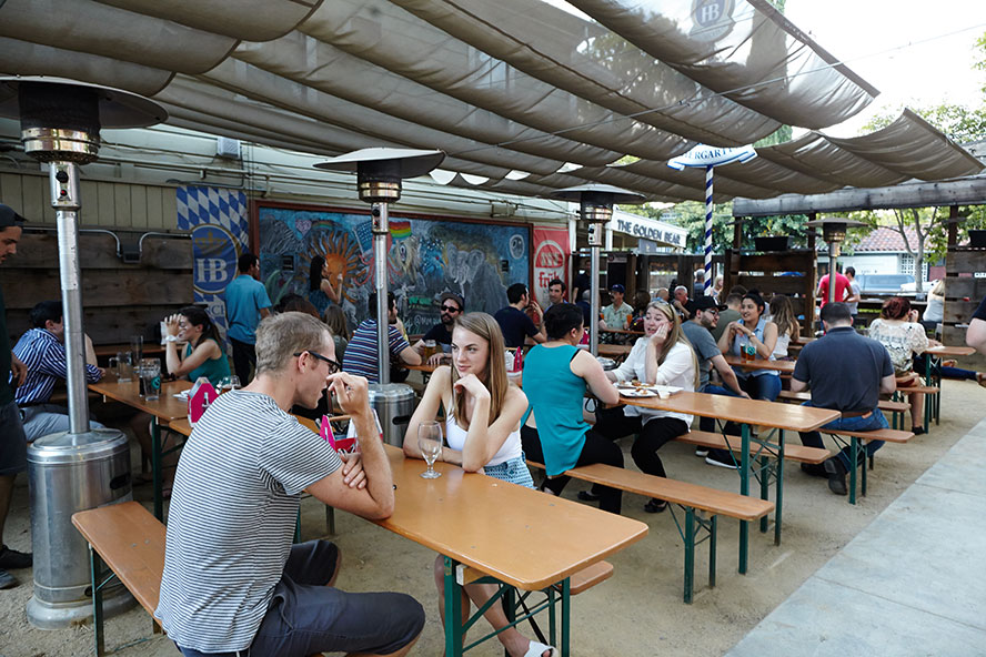 Sacramento S First Bar Made From Shipping Containers Staying True To Authentic German Beer Gardens All Outdoors With Long Tables For Drinking