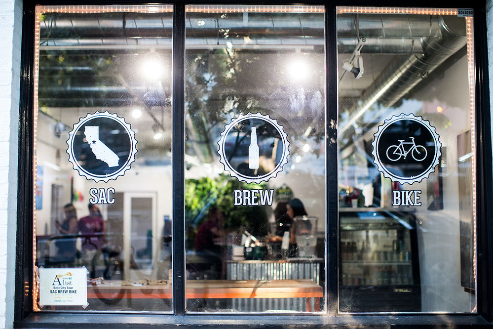 Glass window of the Sacramento Brew Bar