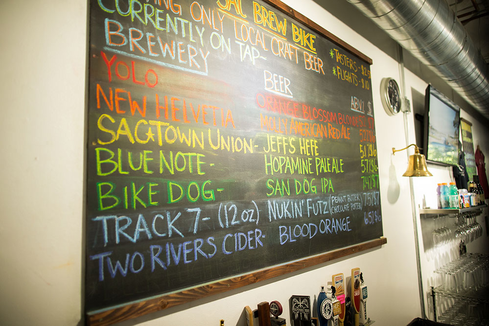 Beers on tap on chalk board